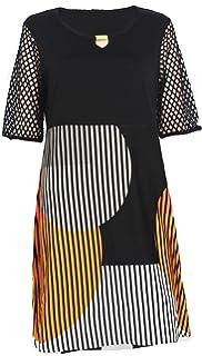 Doris Streich Damen Jerseykleid Kleid Streifen schwarz orange weiß (42) c46e6cce53