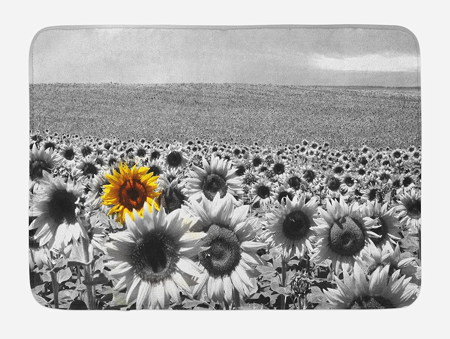 Lunarable Modern Bath Mat, Sunflower Field Black and White with a Single Yellow Flower Spring Landscape Individuality, Plush Bathroom Decor Mat with Non Slip Backing, 29.5