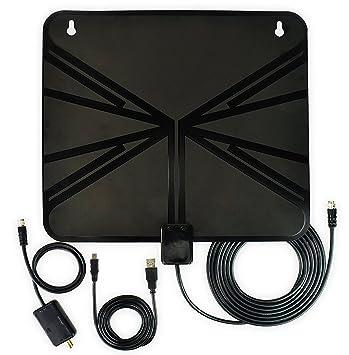 Rybozen HDTV Antena, Antena Amplificada de Interior HDTV Rango 50 Mile con Amplificador Desmontable Amplificador