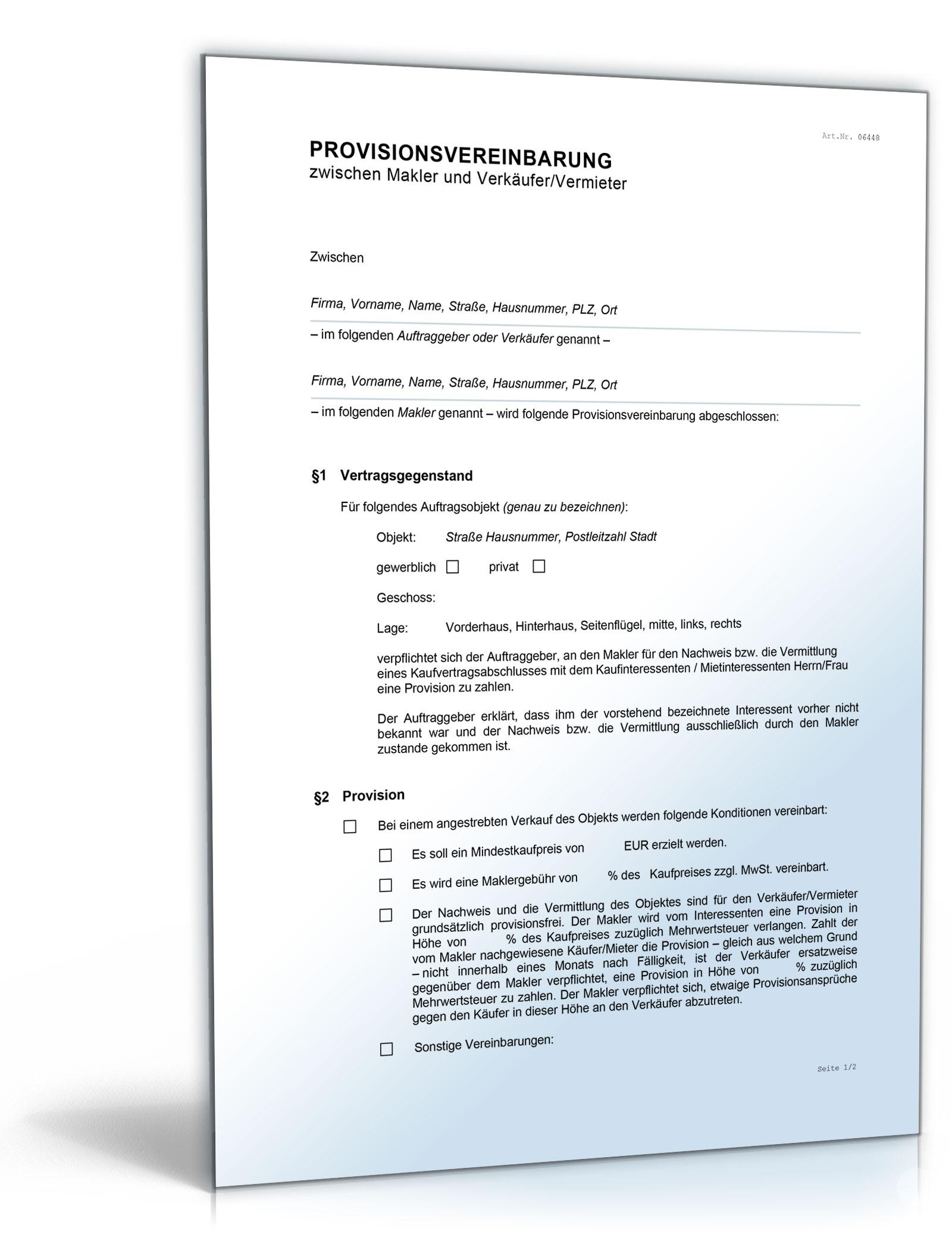 Provisionsvereinbarung Makler Vermieter Word Dokument Amazonde