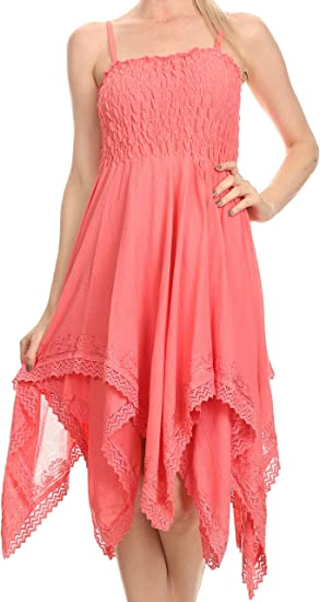 Sakkas 2058 - Ella Smocked Bodice Spaghetti Strap Double Layered Dress - Pink - OS