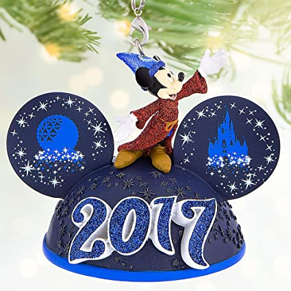 disney sorcerer mickey mouse light up ear hat ornament walt disney world 2017