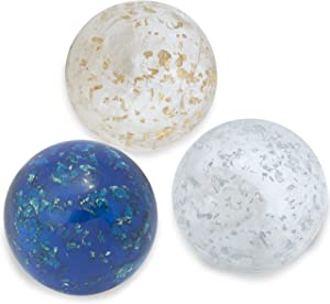 """Lightweight Handmade Crystal Inspired 'Resin' Decorative Balls for Bowls – Blue, White & Gold Cloudy-semi Translucent Small Decorative Balls Set of 3x3"""", Accent Decor Decorations for Vases & Trays"""