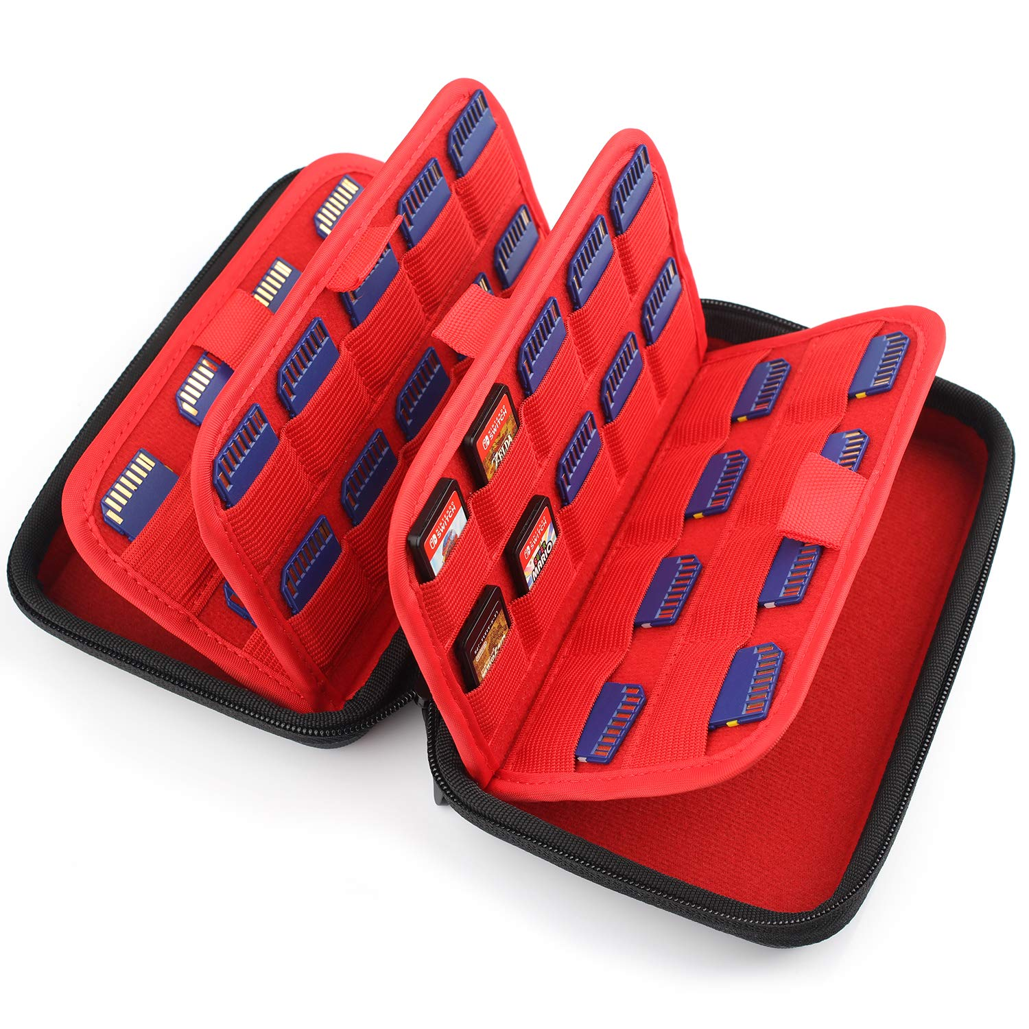 momen Game Card Storage for Organizing Nintendo Switch 3DS/2DS, Ps Vita Games, SD Memory Cards with 72 Elastic Slots Protective Hard Card Cartridges Carrying Case