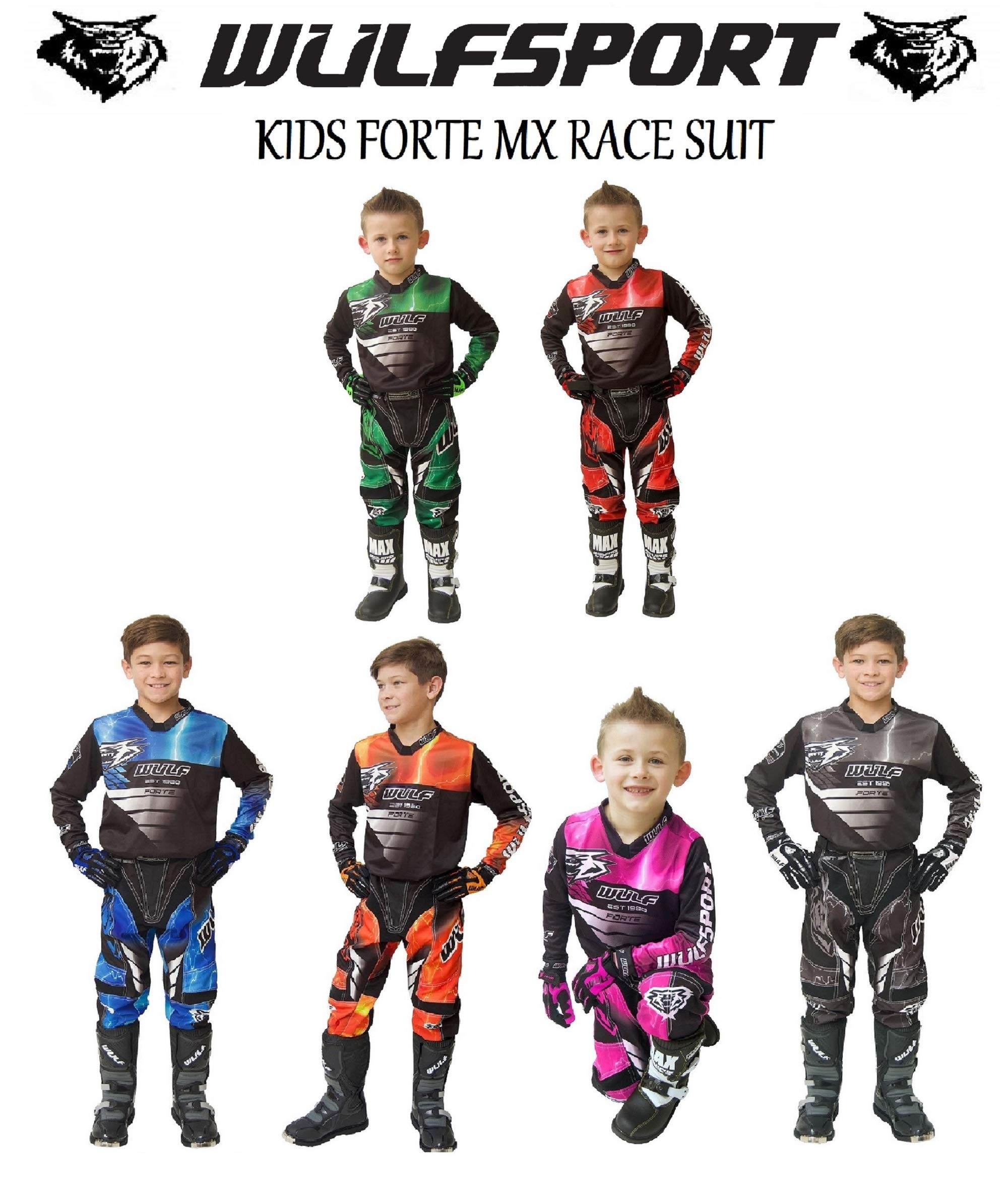 WULFSPORT FORTE MOTORBIKE KIDS RACE SUIT New 2020 Motocross Quad Enduro ATV MX Pit Sport Junior Pant Shirt Kit