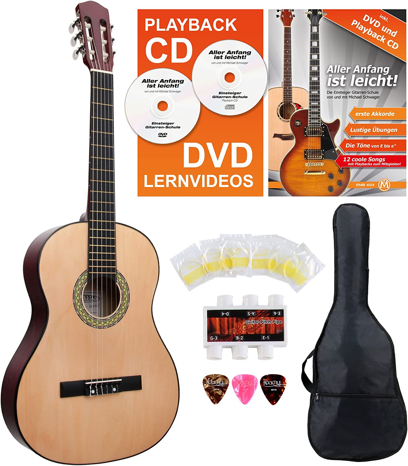 Classic Cantabile Acoustic Series AS-851 7/8 guitarra de concierto set para principiantes