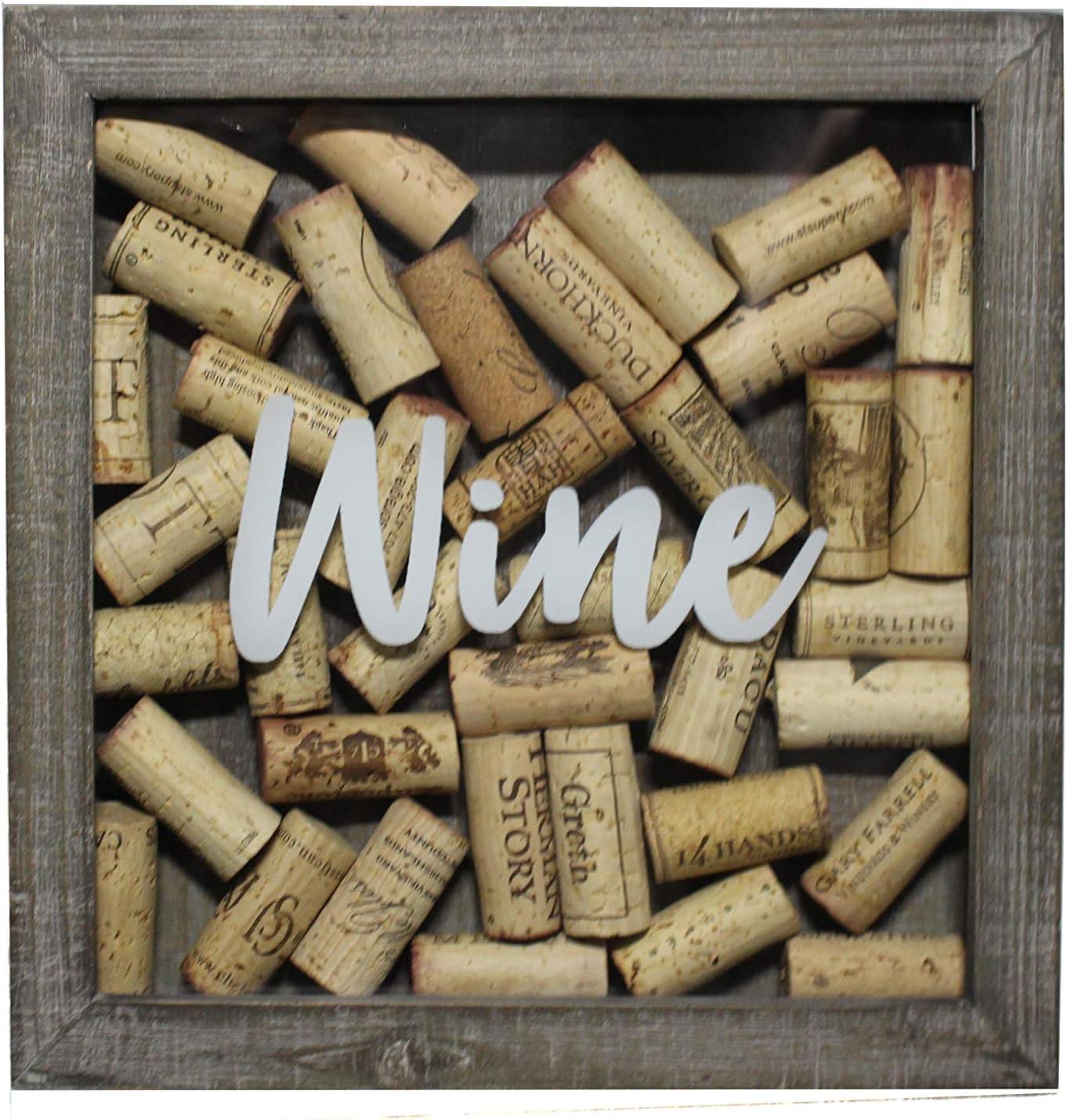 Barley & Vine Wine Cork Shadow Box - Rustic Gray - Quality Wood - Displays ~40 Corks - Easy Open Back - 10 x 10 in. - Metal Hanger Included
