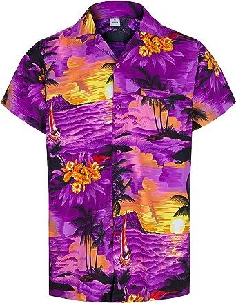 Redstar Fancy Dress - Camisa Hawaiana de Manga Corta - para Hombre - Aloha Verano - Todas Las Tallas - Morado - XXL