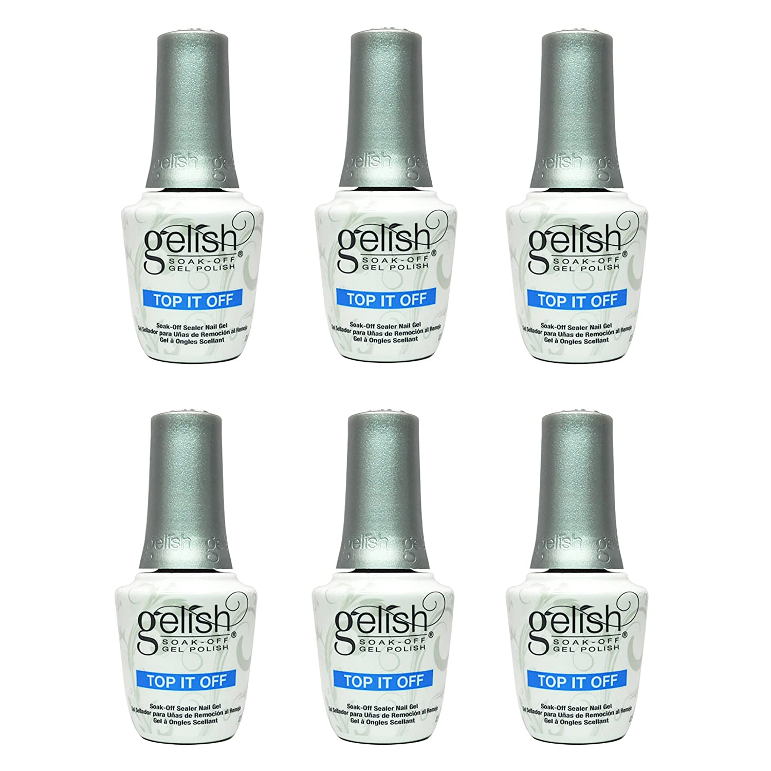 Gelish Harmony 0.5 Fluid Oz. Soak-Off Top-It-Off Sealer Gel Polish (6 Pack)