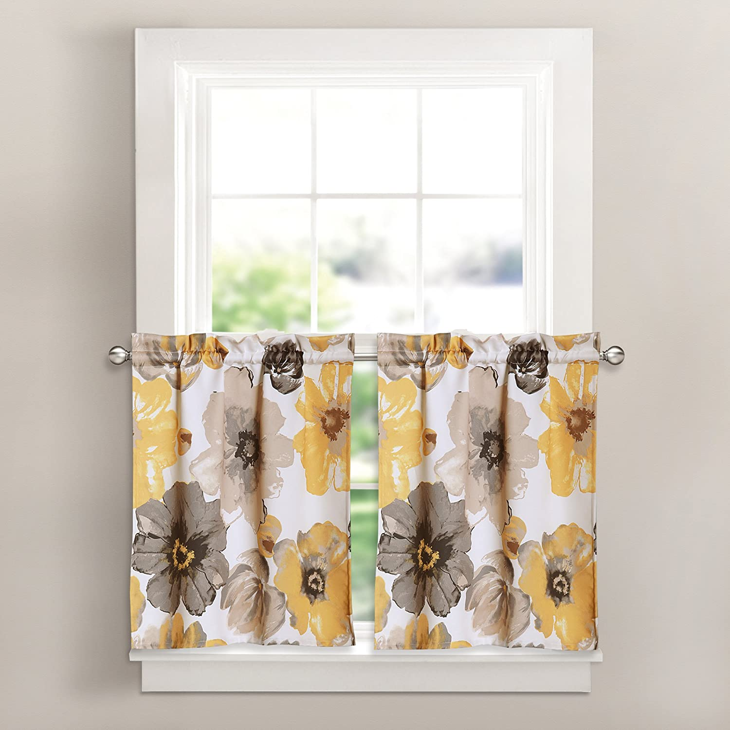 Lush Decor Leah Room Darkening Kitchen Curtain Tier Set Yellow/Gray