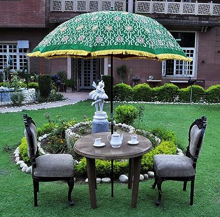 Lal Haveli Designer Large Garden Parasol Patio Umbrella Green Color 52 x 72 inches