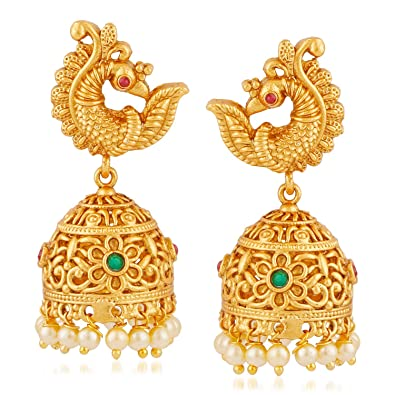 MEENAZ Temple Jewellery Sets Traditional Matte Gold Pearl Ruby Green  Peacock Jhumka/Jhumki Earrings for Women/Girls-Jhumki earrings-344