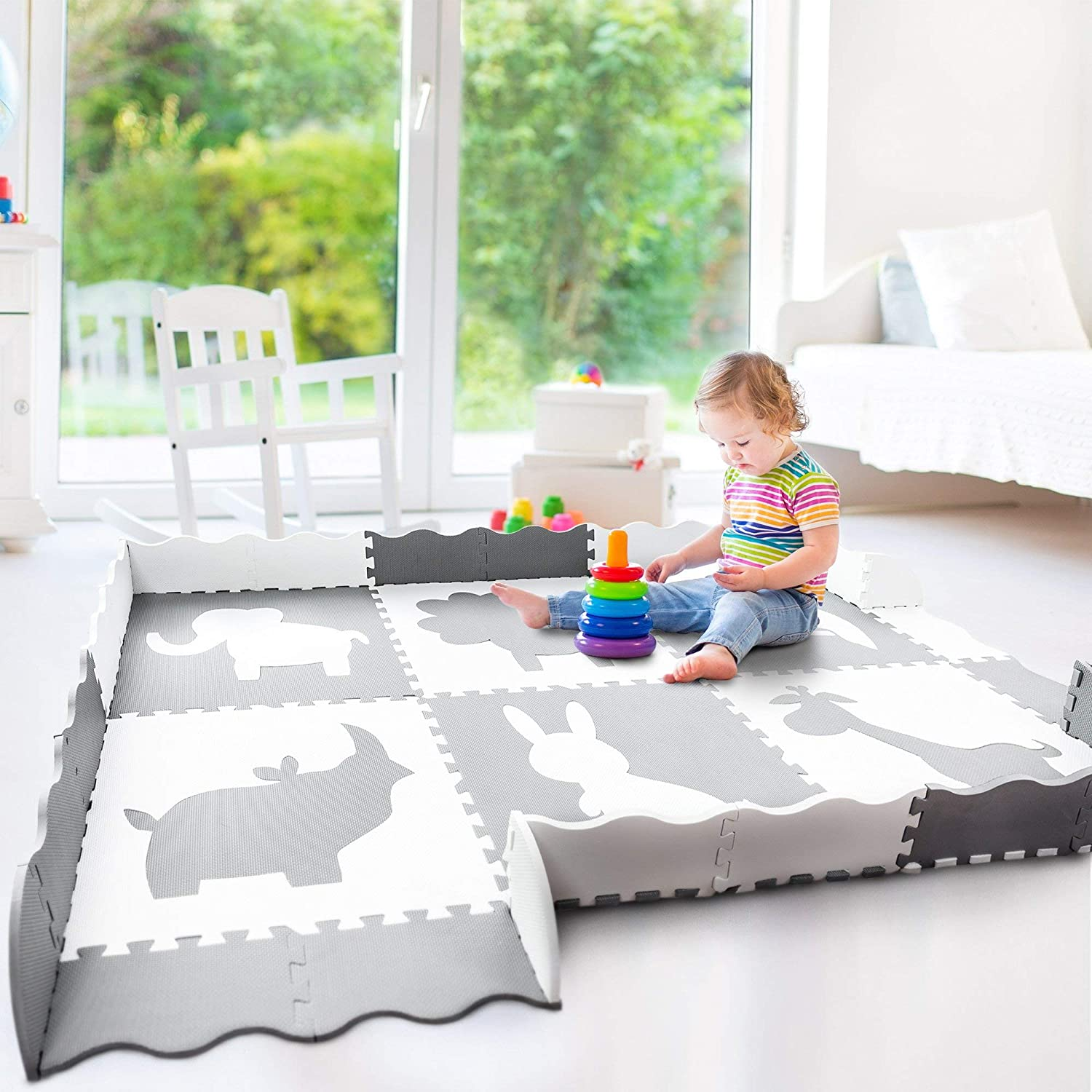 Wee Giggles X-Large Non-Toxic Baby Play Mat  Neutral Nursery or Playroom   Grey
