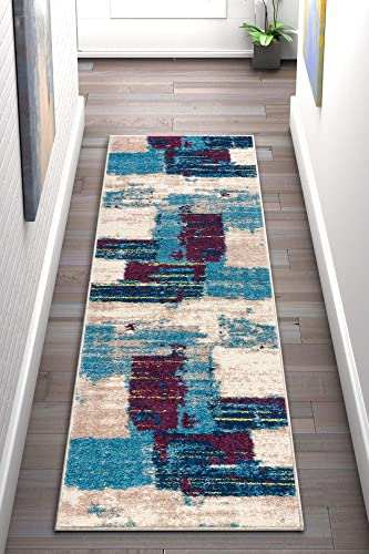 Well Woven Rumsey Boxes Blue Modern Geometric Squares 2×7 2 x 7 3 Runner Area Rug