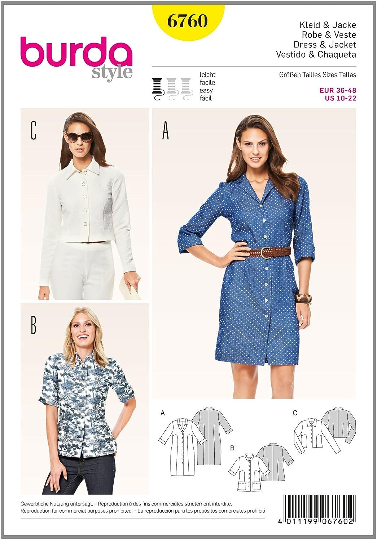 Burda 6760 - Cartamodello per abito e giacca burda style B6760