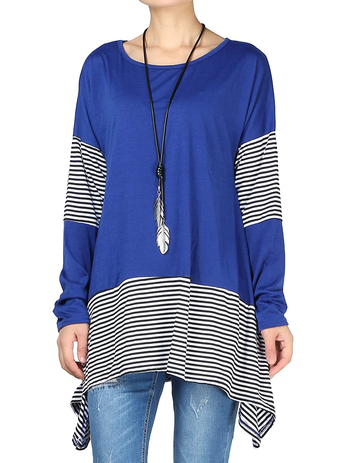 Mordenmiss Women's Stripes Asymmetry Hem Tunics Blouse with Pockets MS1713