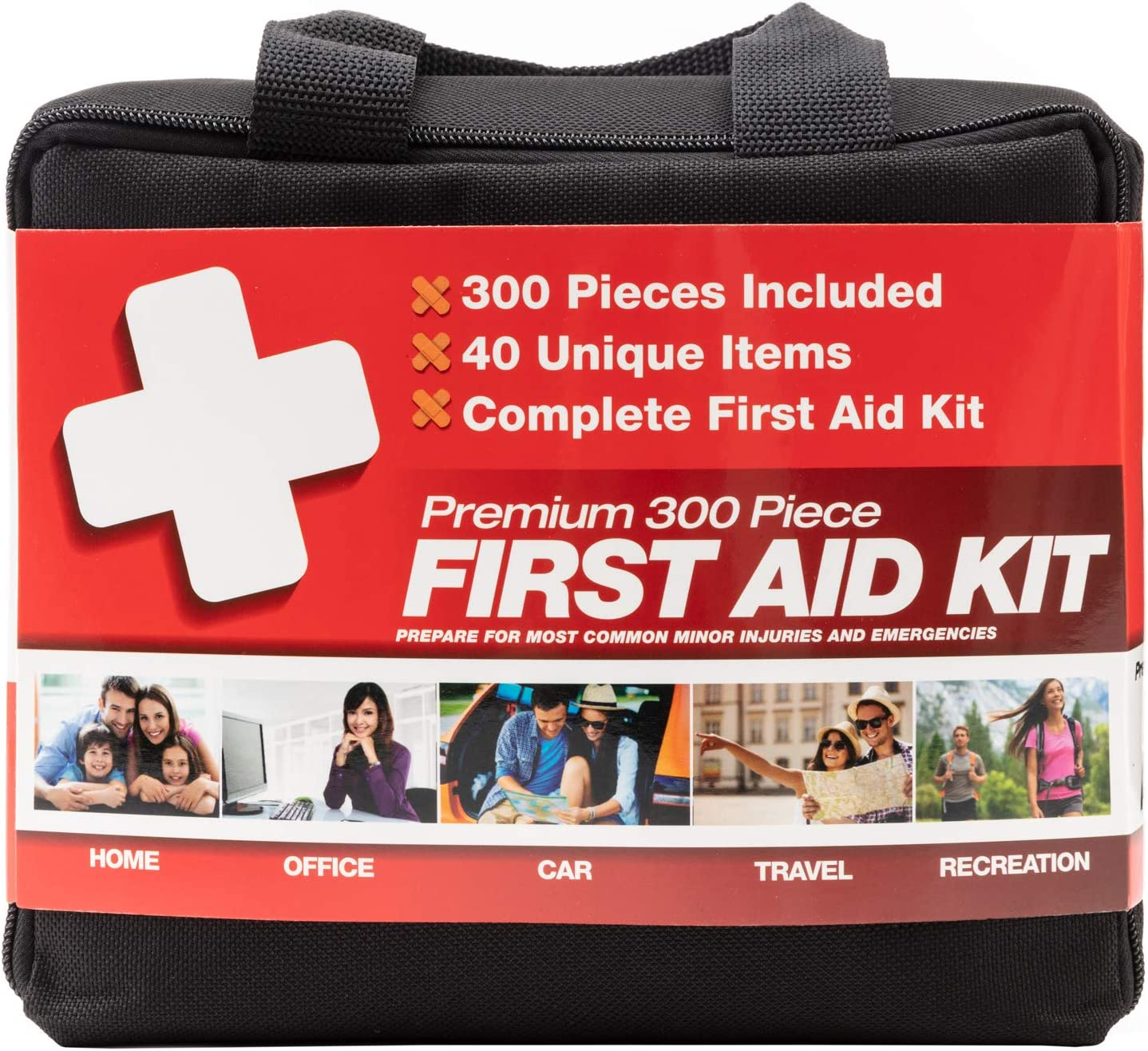 M2 BASICS 300 Piece (40 Unique Items) First Aid Kit | Free First Aid Guide | Emergency Medical Supply | for Home, Office, Outdoors, Car, Survival, Workplace: Health & Personal Care