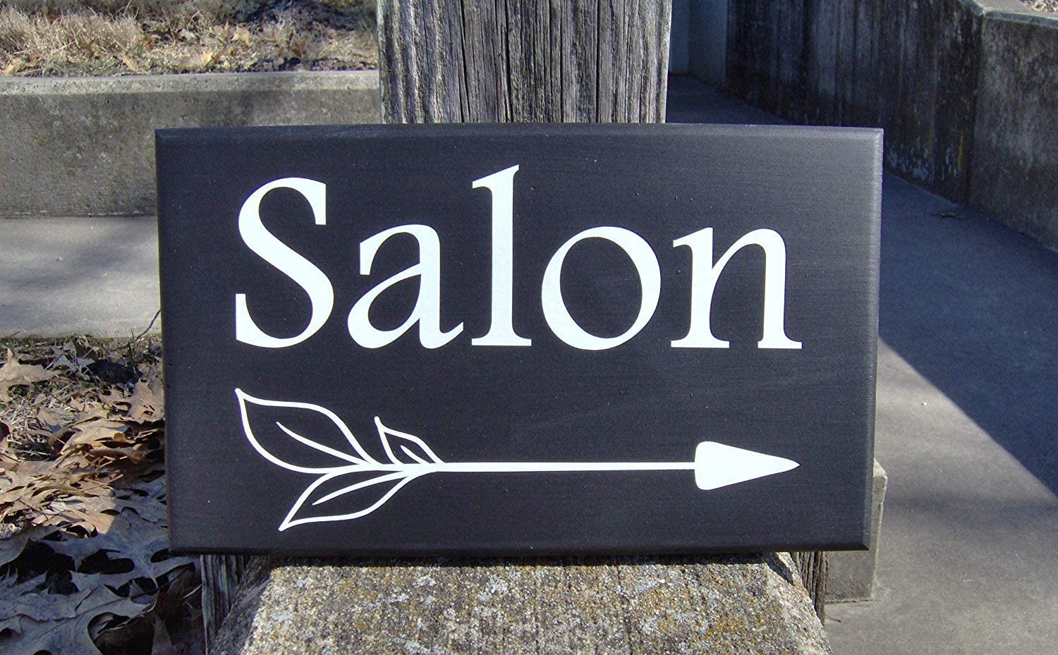 NOT BRANDED 16x24cm Salon Directional Arrow Sign Wooden Vinyl Signs Wall Decor Outdoor Exterior Home Business Signage Health and Beauty Spa Massage Therapy Art 810435