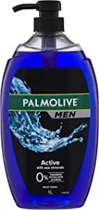 Palmolive Men Active Body Wash With Sea Minerals 0 percentage Parabens Dermatologically Tested pH Balanced Recyclable Bottle 1L