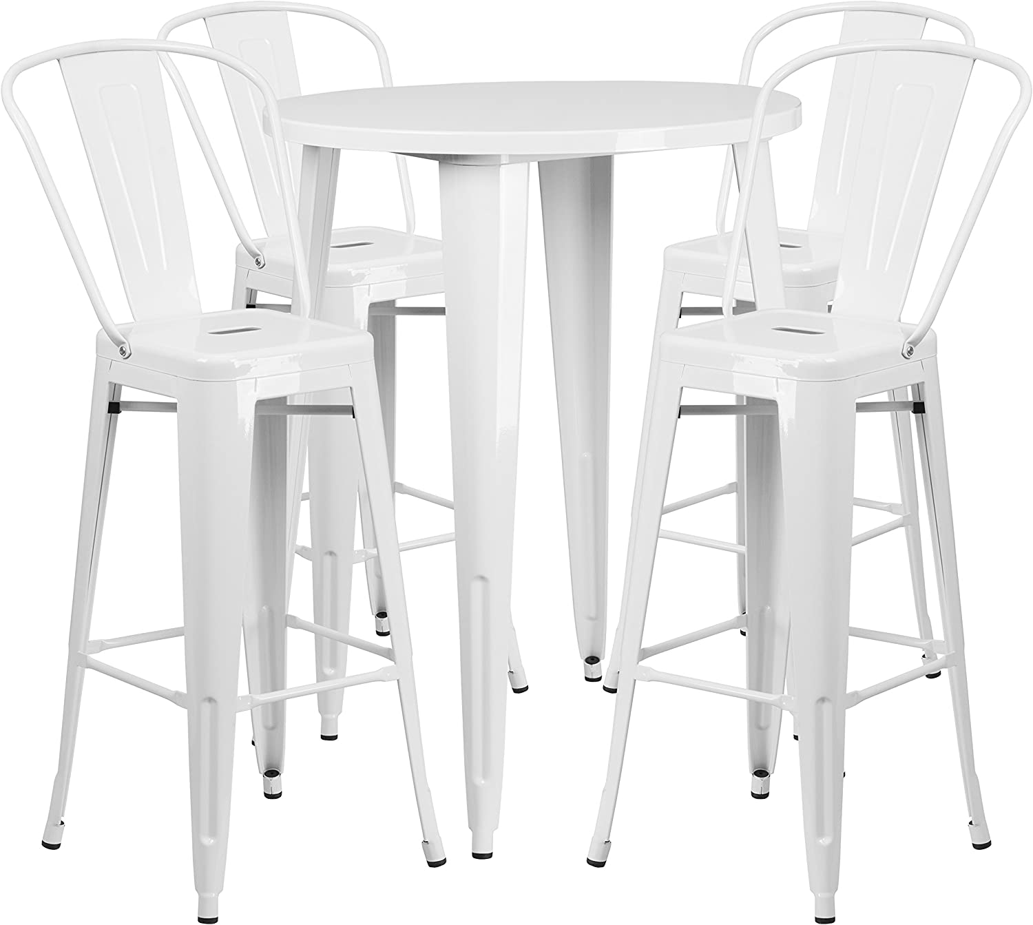 Flash Furniture 30 Round White Metal Indoor-Outdoor Bar Table Set with 4 Cafe Stools