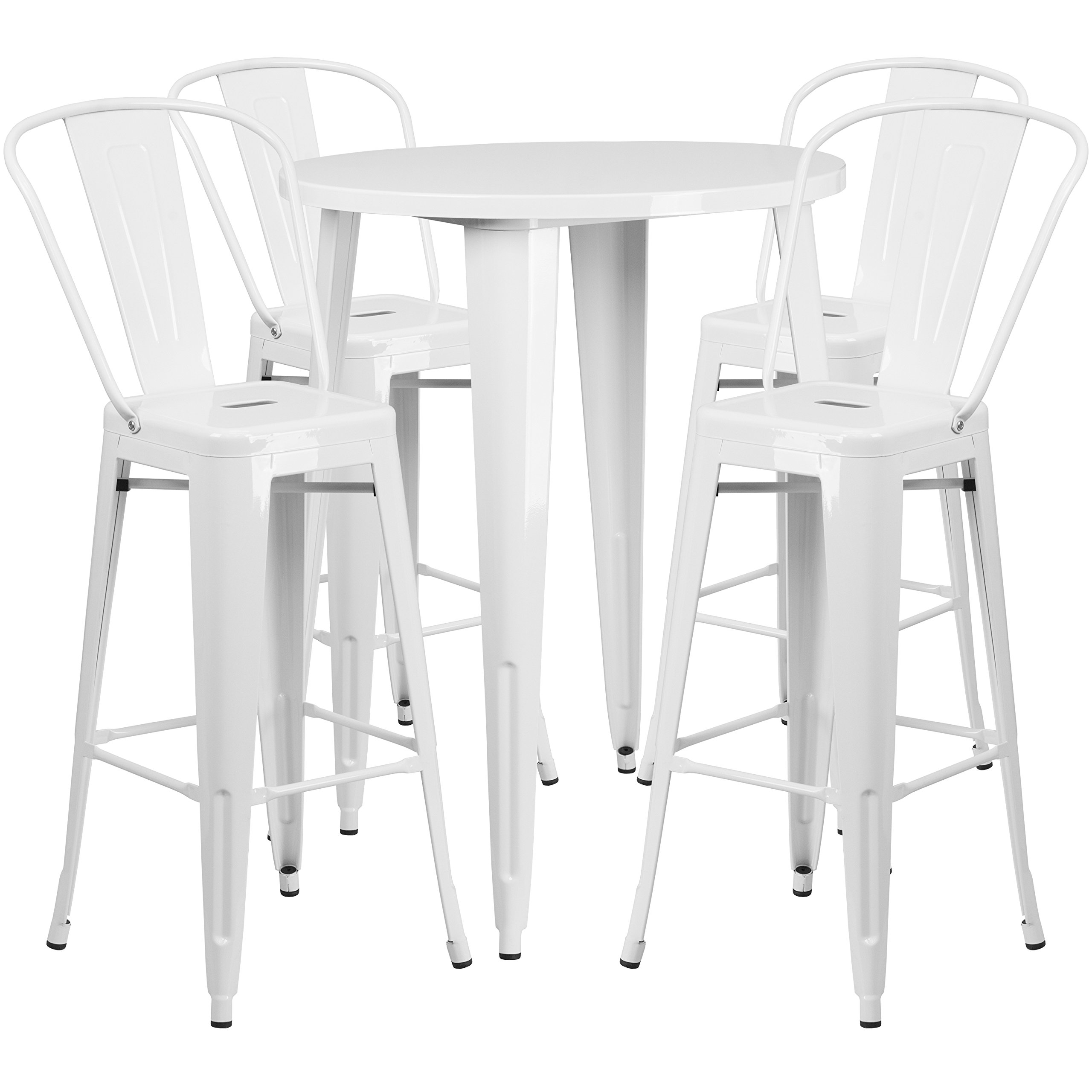Flash Furniture 30'' Round White Metal Indoor-Outdoor Bar Table Set with 4 Cafe Stools