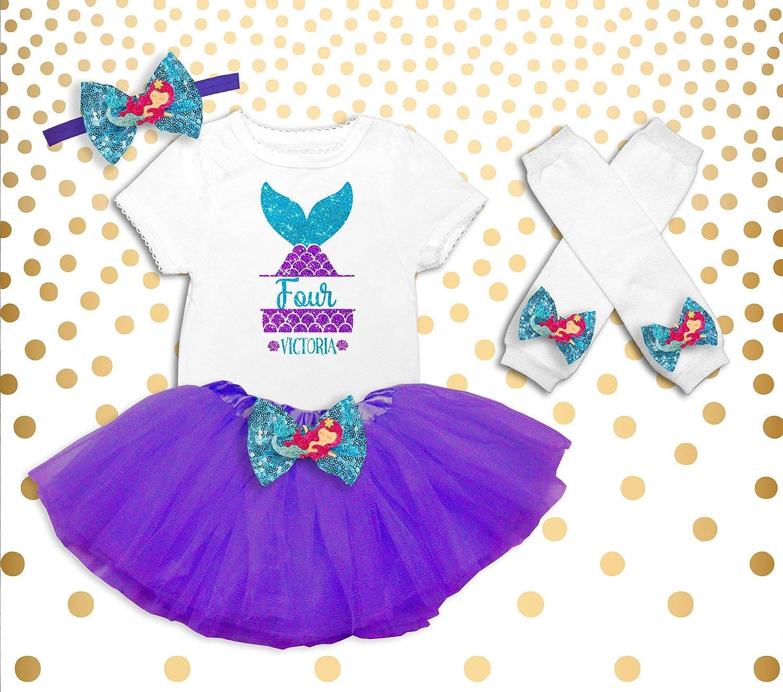 dbfbf9daa2e6 Amazon.com: Girl's 4th Birthday Outfit, Mermaid Birthday Shirt, Mermaid 4th  Birthday Outfit, Mermaid Birthday Party Outfit, Mermaid Birthday Tutu:  Handmade
