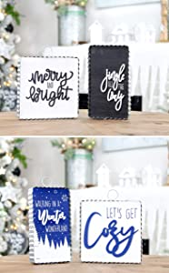 AuldHome Reversible Christmas/Winter Sign Set (2-Piece Set with 4 Designs); Holiday and Seasonal Block Signs with Rustic Farmhouse Galvanized Frames