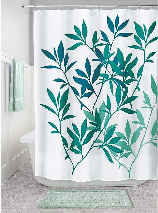 InterDesign Leaves Cortina de Ducha Cortina de ba/ño de dise/ño de tama/ño est/ándar Elegantes Cortinas Estampadas con Dibujo de Hojas Poli/éster Verde 183,0 cm x 183,0 cm
