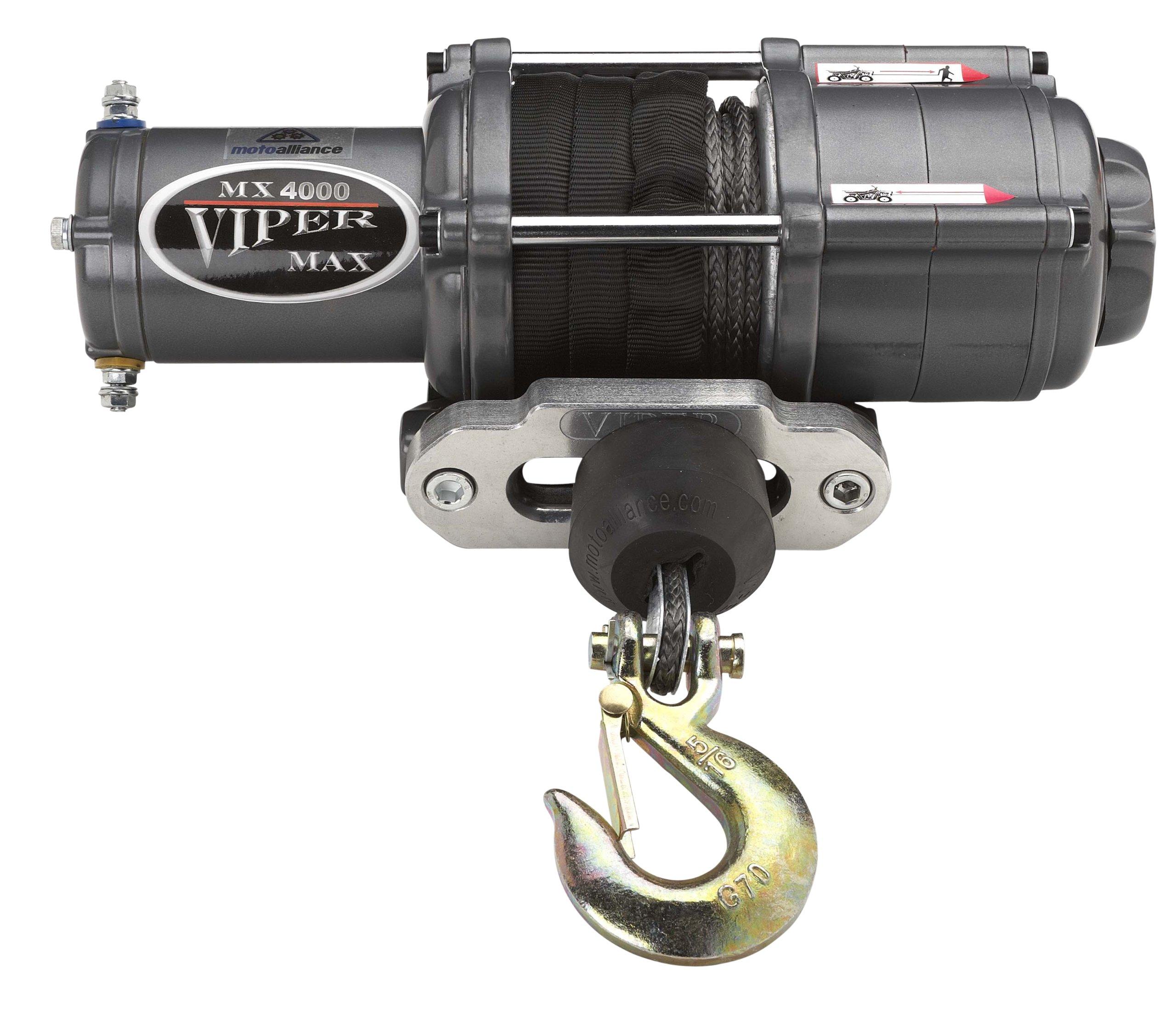 VIPER Max 4000lb ATV/UTV Winch Kit with 50 feet BLACK Synthetic Rope