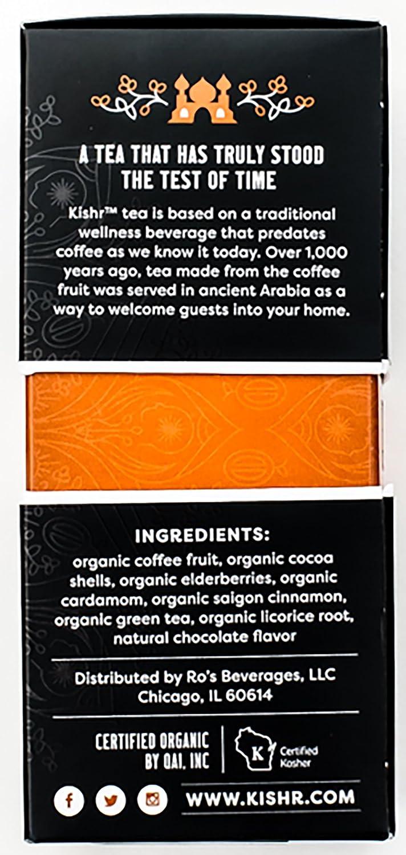 Coffee organic tea - Amazon Com Kishr Organic Coffee Fruit Tea Chocolate Cardamom Herbal Tea For Clarity Focus And Energy 10 Bags Grocery Gourmet Food