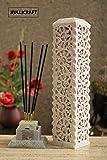KC KULLICRAFT Soapstone Hand Carved Floral Design Incense Holder with Free 6 Incense Sticks (11 Inch_Chandan Fragnance)
