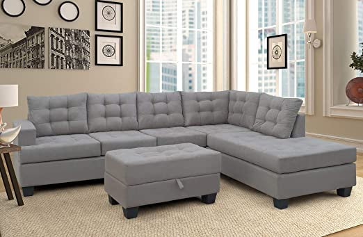Merax Sectional Sofa with Chaise and Ottoman 3-Piece Sofa for Living Room  Furniture,(Gray)