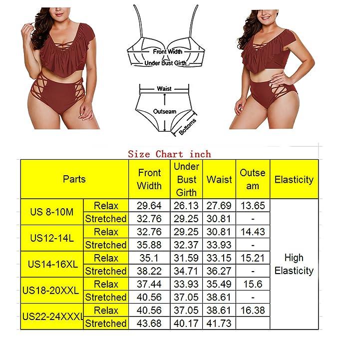 ed9e5f8e29 Amazon.com: 2018 Women's Plus Size Swimsuits High Waist Strappy Push up  Bikini Set Swimwear: Clothing