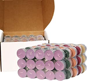 CandleNScent Scented Tea Lights Candles   Variety Pack   French Vanilla - Sweet Lavender - Fresh Pine - Cinnamon Spice - Warm Apple Pie - Made in USA (Pack of 150)