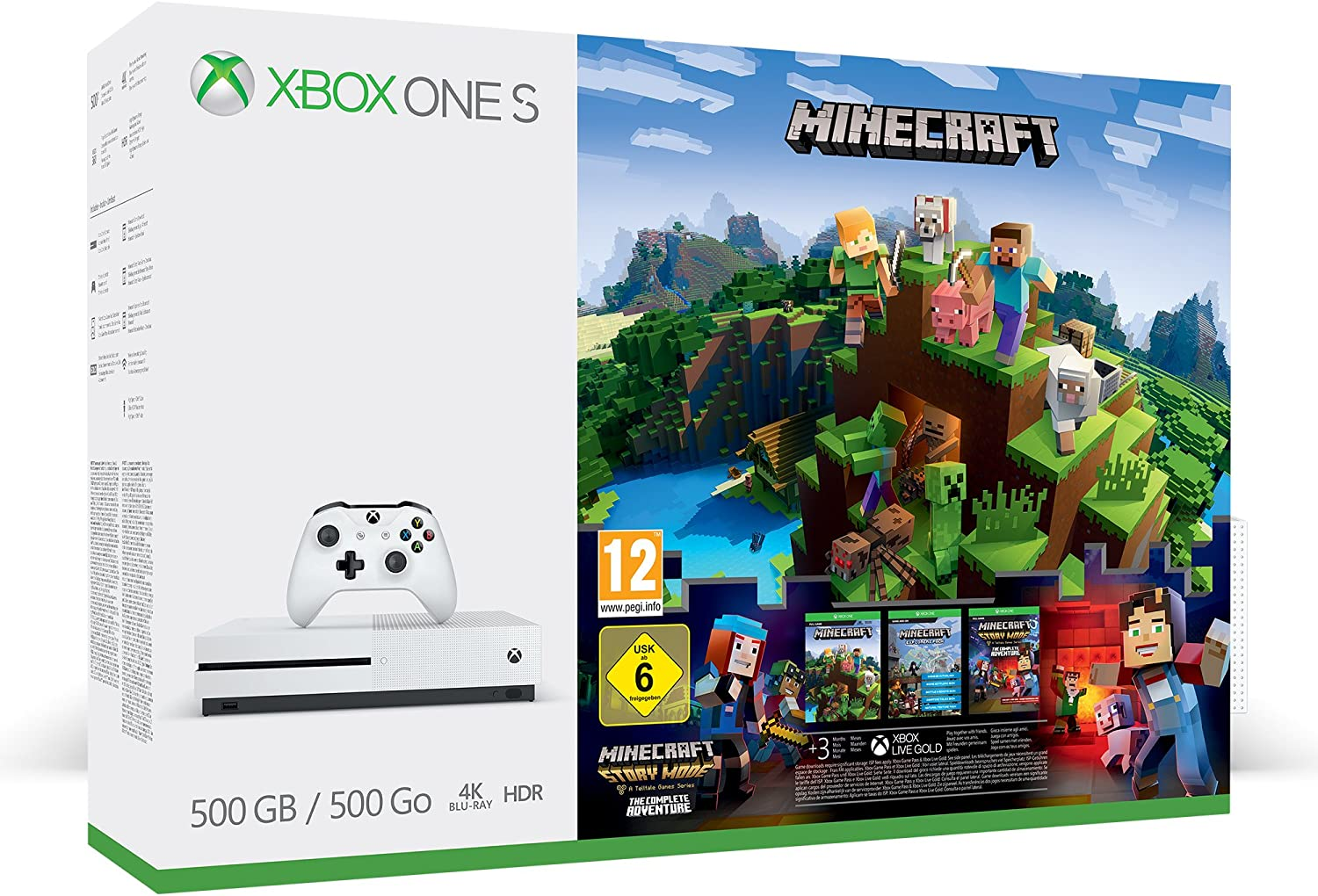 Xbox One - Consola S De 500 GB + Minecraft +3M Live Gold: Amazon.es: Videojuegos