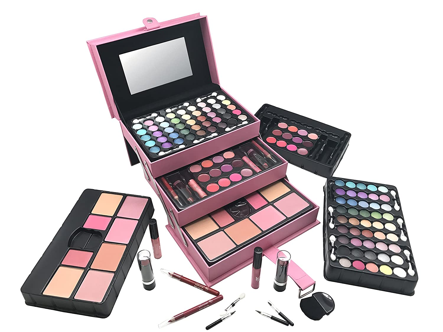 BR All In One Makeup Kit Eyeshadow, Blushes, Powder, Lipstick More Holiday Gift Set LightPink