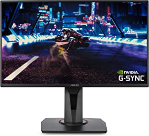 "ASUS VG258QR 24.5"" Gaming Monitor, 1080P Full HD, 165Hz (Supports 144Hz), G-SYNC Compatible, 0.5ms, Extreme Low Motion Blur, Eye Care, DisplayPort HDMI DVI-D,Black"
