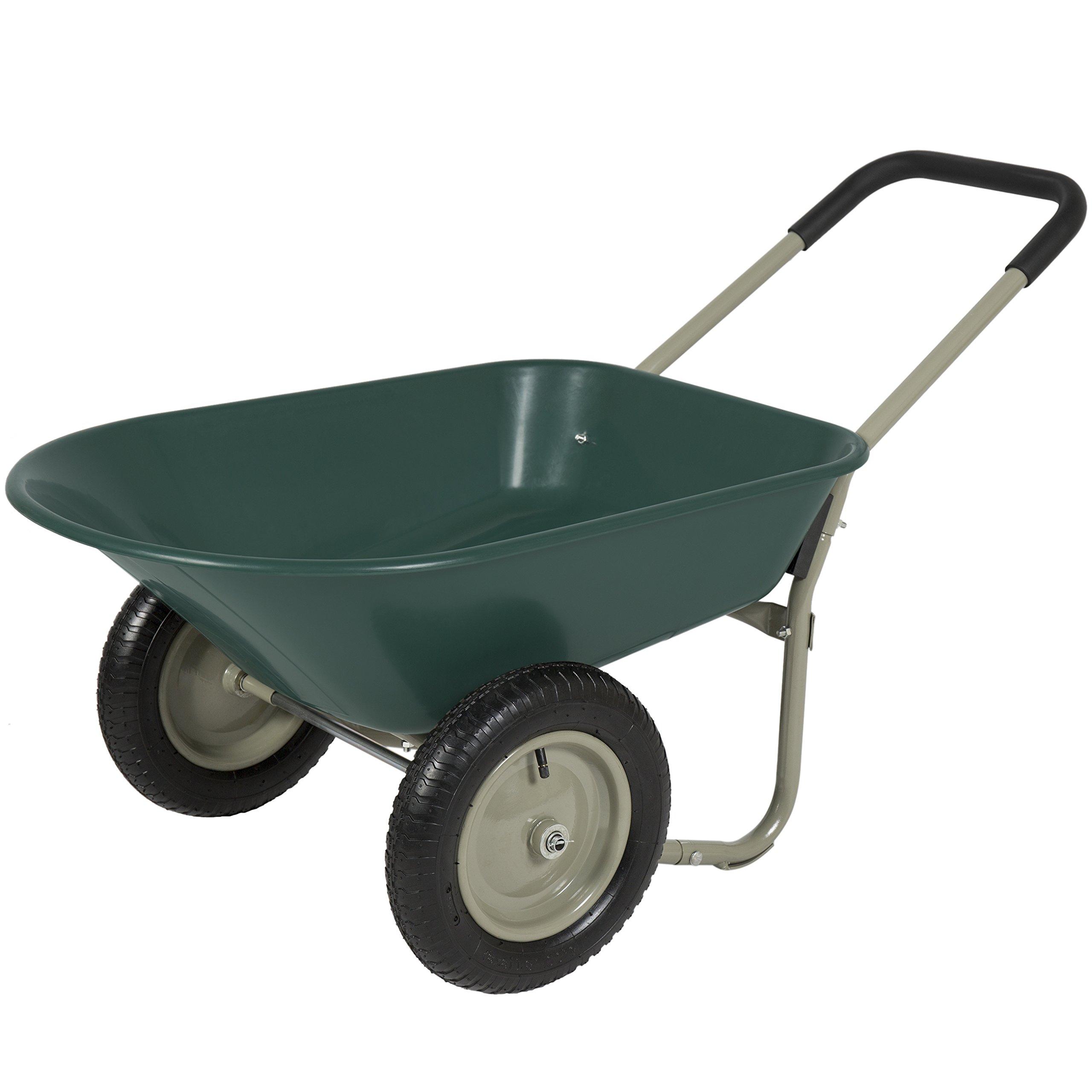 Best Choice Products Dual Wheel Home Wheelbarrow Yard Garden Cart by Best Choice Products