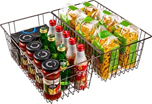 SANNO Farmhouse Decor Organizer Storage Bin Basket with Handles, Food Storage for Kitchen Cabinets, Pantry, Closet, Bedroom, Bathroom, Office,Set of 2,Bronze