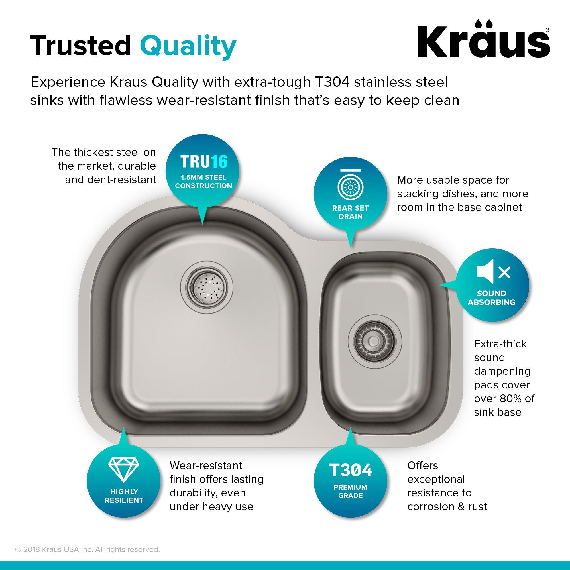 Kraus KBU21 30 inch Undermount 60/40 Double Bowl 16 gauge Stainless Steel Kitchen Sink by Kraus (Image #4)