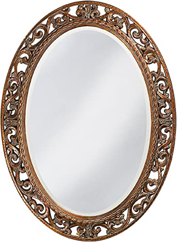Howard Elliott Suzanne Oval Hanging Wall Mirror, Ornate Scroll Pattern Resin Frame, Antique Gold Leaf, 27 x 37 Inch