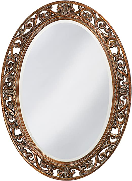 Amazon Com Howard Elliott Suzanne Oval Hanging Wall Mirror Ornate Scroll Pattern Resin Frame Antique Gold Leaf 27 X 37 Inch Home Kitchen