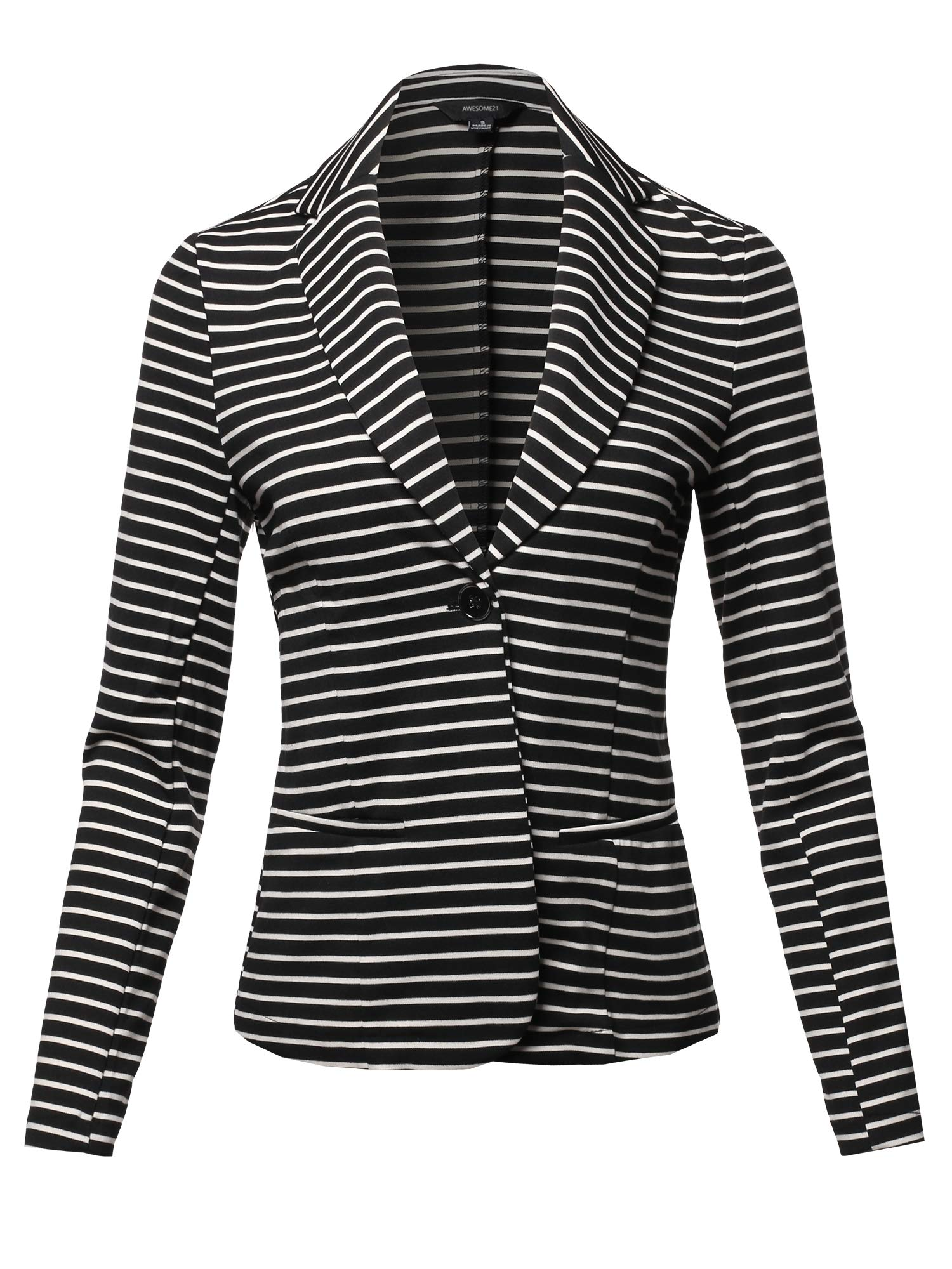 Casual Stylish Patterned Long Sleeves Blazer Jacket Black Stripe Size L