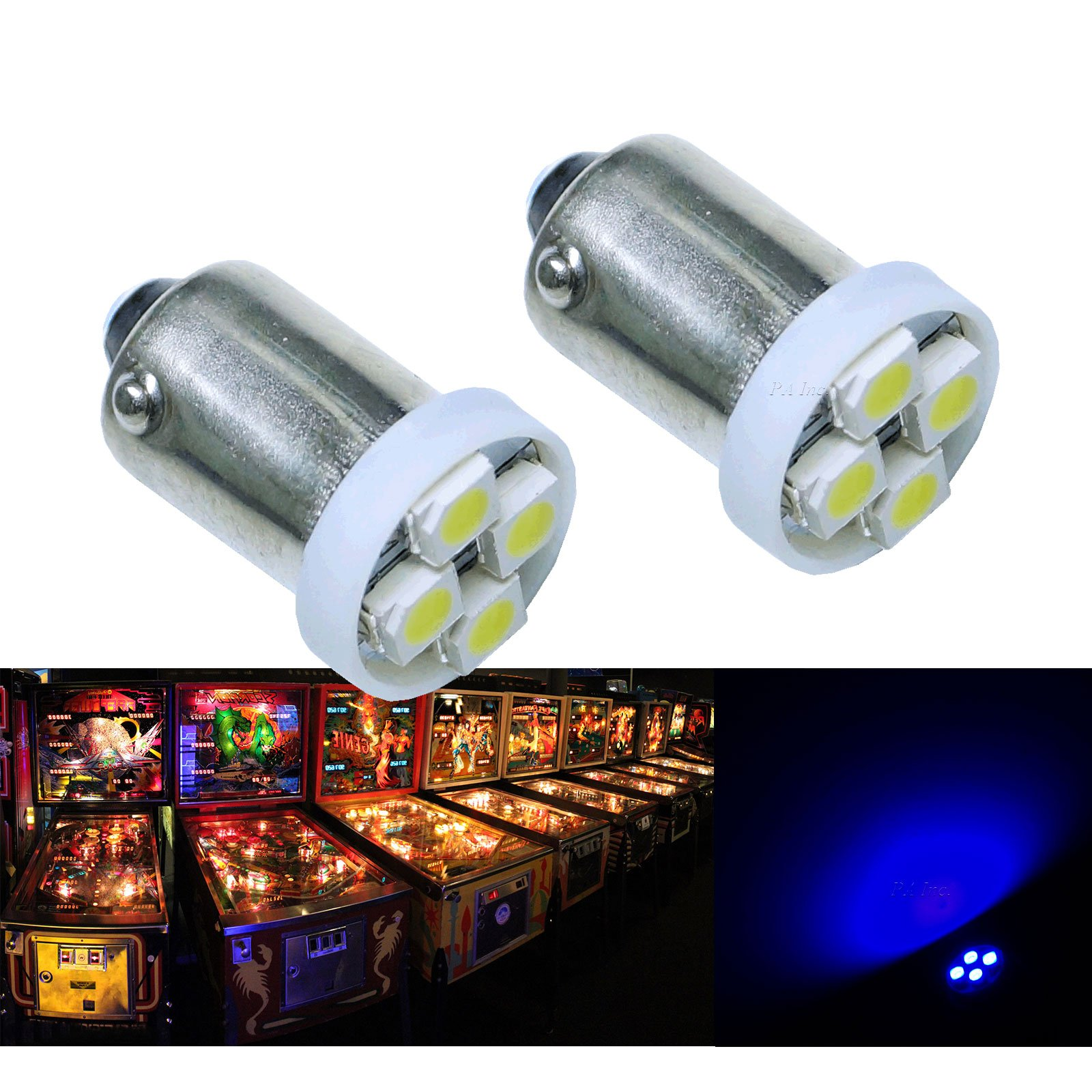 PA® 10PCS #1893 #44 #47 #756 #1847 BA9S 4SMD LED Wedge Pinball Machine Light Bulb Blue-6.3V