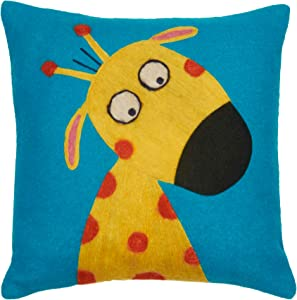 Be-You-tiful Home Funny Giraffewool Felt Pillow, 12 by 12-Inch