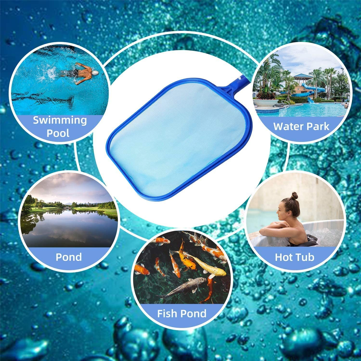 KAHEIGN Hot Tub Cleaning Kit Scrubber Pad Swimming Pool Skimmer with Paddling Pool Brush Gloves for Garden Pond Hot Tub Spa Fountain Fish Tank
