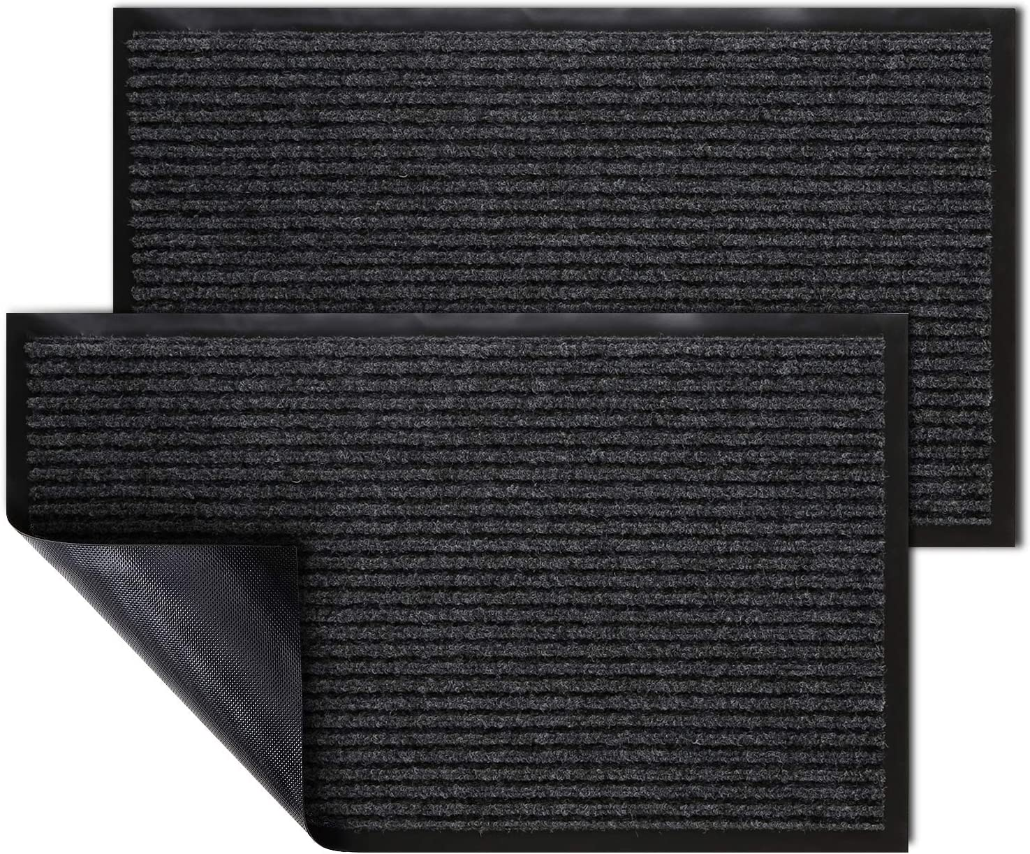 "KMAT 2 Pack Door Mat Outdoor Indoor, Waterproof Anti-Slip Durable Rubber Doormat Low-Profile Design Floor Front Doormat Rugs for Entryway,Patio,Garage,High Traffic Areas(30""x17"",Grey-Black)"