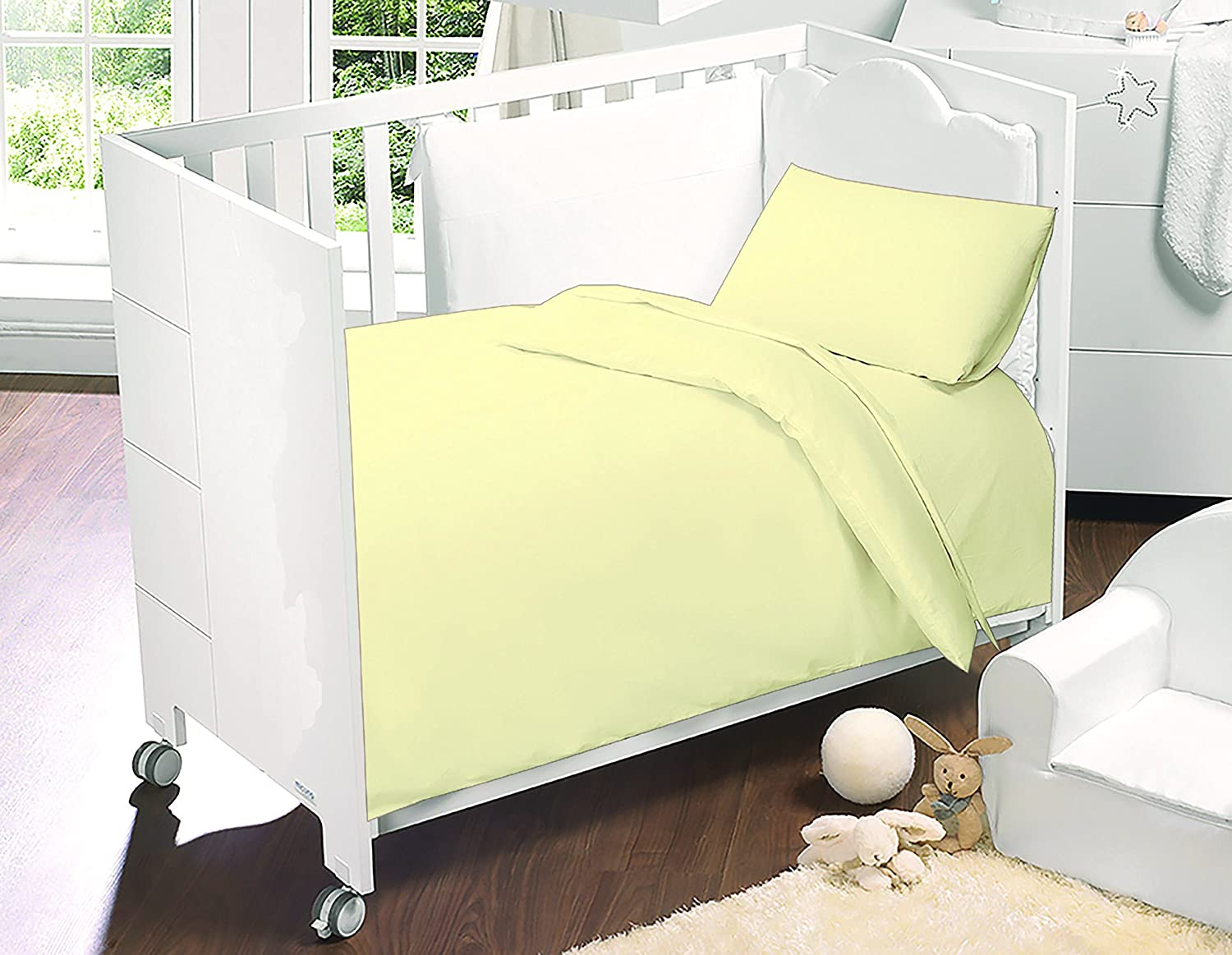 Love2Sleep 100% EGYPTIAN COTTON COT DUVET COVER 100 X 120 CM & PILLOWCASE SET : LEMON/ YELLOW