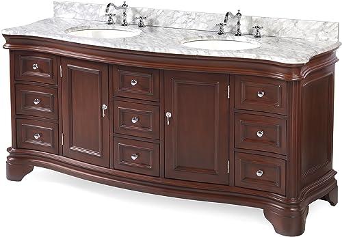 Katherine 72-inch Double Bathroom Vanity Carrara/Chocolate : Includes Chocolate Cabinet