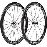 VCYCLE Nopea 700c Carbonio Bicicletta da Corsa Strada in Ruote 50mm Copertoncino Tirare Dritto Shimano o Sram 8/9/10/11 Velocità Solo 1500g